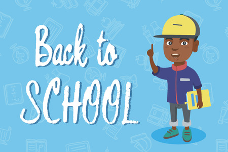 A vector sketch cartoon illustration in horizontal layout of African schoolboy holding textbook and pointing his forefinger up with Back to School text Illustration