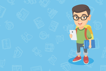 A vector sketch cartoon illustration in horizontal layout of Caucasian boy with backpack and cellphone.