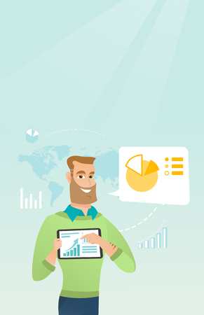 electronic commerce: Young caucasian businessman pointing at charts on tablet computer screen. Businessman presenting report on a digital tablet on the background of graphs. Vector cartoon illustration. Vertical layout.