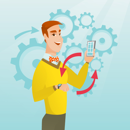 A vector sketch cartoon illustration in square layout of young Caucasian man showing his smartphone and smart watch on the background of cogwheels. Illustration