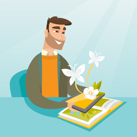 A vector sketch cartoon illustration in square layout of young Caucasian hipster man holding tablet computer above the book and looking at butterflies flying out from the device.