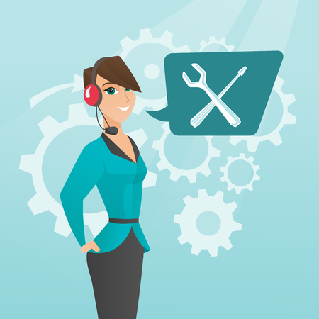 Caucasian female operator of technical support wearing headphone set. Young technical support operator and speech square with screwdriver and wrench. Vector cartoon illustration. Square layout.