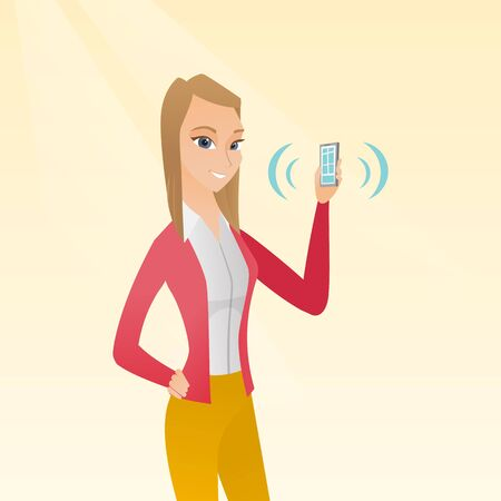 vibrating: Young caucasian smiling woman holding ringing mobile phone. Happy woman answering a phone call. Woman showing a ringing phone in hand. Vector cartoon illustration. Square layout.