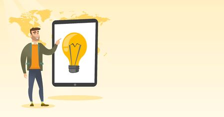 Caucasian man pointing at big tablet computer with light bulb on screen. Young hipster man standing near tablet computer on the background of world map. Vector cartoon illustration. Horizontal layout.