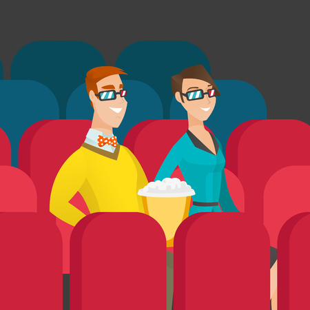Young couple watching three D movie in the theatre. Smiling caucasian friends in three d glasses watching movie and eating popcorn in the cinema. Vector cartoon illustration. Square layout.