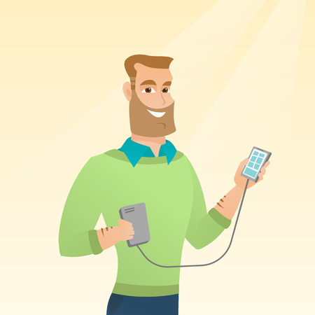 Young caucasian man recharging his smartphone with a mobile phone portable battery. Happy hipster man holding a mobile phone and a battery power bank. Vector cartoon illustration. Square layout.