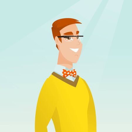 Young smiling man wearing wearable computer with an optical head-mounted display. Caucasian cheerful man wearing smart glasses. Vector cartoon illustration. Square layout. Illustration