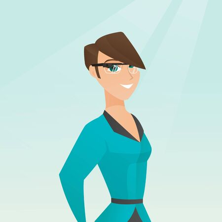 Young smiling woman wearing wearable computer with an optical head-mounted display. Caucasian cheerful woman wearing smart glasses. Vector cartoon illustration. Square layout.