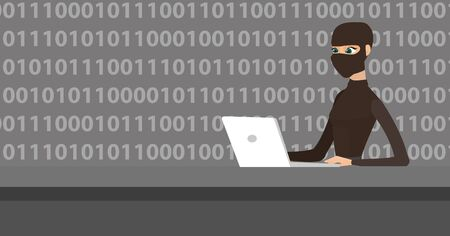 Computer hacker in mask working on a laptop on the background of binary code. Hacker using a laptop to steal data and personal identity information. Vector cartoon illustration. Horizontal layout.