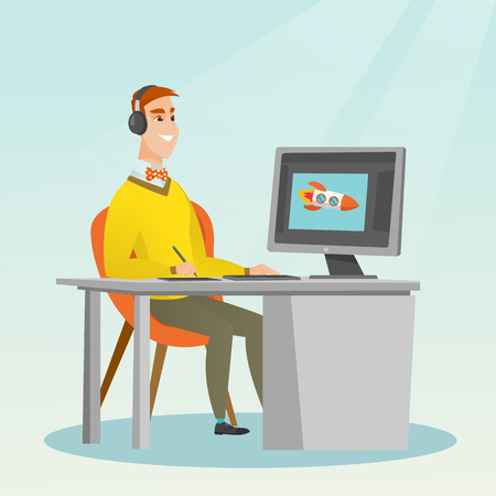 Caucasian graphic designer wearing headphones and drawing on graphics tablet. Young graphic designer using a digital graphics tablet, computer and pen. Vector cartoon illustration. Square layout. Illustration