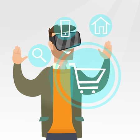 Young caucasian hipster man with beard wearing virtual reality headset and looking at icon of shopping trolley. Virtual reality and shopping online concept. Vector cartoon illustration. Square layout. Illustration