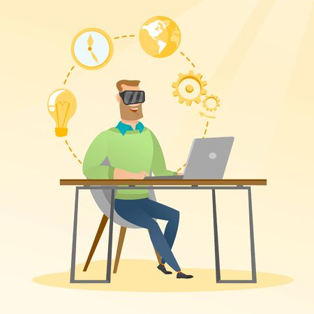 Caucasian businessman wearing virtual reality headset and working on a computer. Young happy smiling businessman using virtual reality device in the office. Vector cartoon illustration. Square layout.