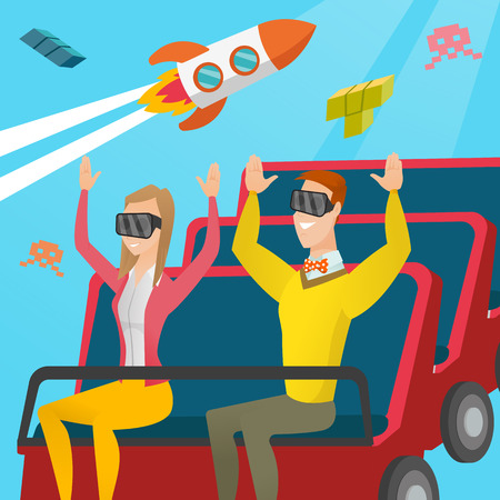 Young caucasian couple in virtual reality headset riding on roller coaster. Excited friends in virtual reality glasses having fun in virtual amusement park. Vector cartoon illustration. Square layout. Illusztráció