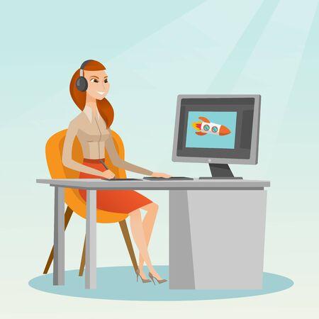 백인 그래픽 디자이너 헤드폰을 착용 하 고 그래픽 태블릿에 그리기. 젊은 그래픽 디자이너 디지털 그래픽 태블릿, 컴퓨터 및 펜을 사용 하여. 벡터 만