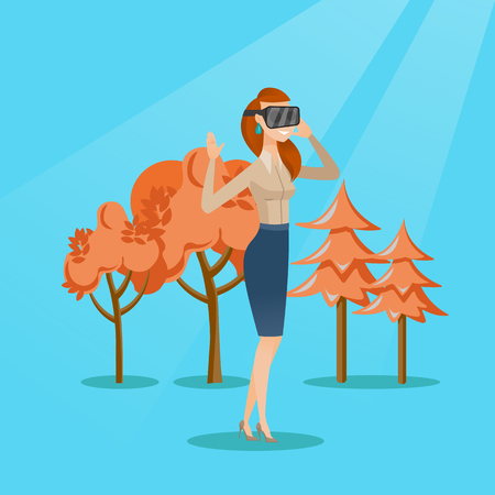 Excited cheerful caucasian gamer wearing virtual reality headset in the park. Young woman using virtual reality glasses and playing videogame in the park. Vector cartoon illustration. Square layout.