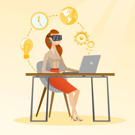 Caucasian business woman wearing virtual reality headset and working on a computer. Young smiling businesswoman using virtual reality device in the office. Vector cartoon illustration. Square layout.
