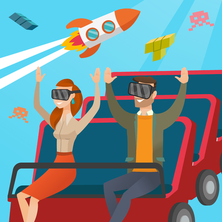coaster: Young caucasian couple in virtual reality headset riding on roller coaster. Excited friends in virtual reality glasses having fun in virtual amusement park. Vector cartoon illustration. Square layout. Illustration