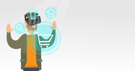 Young caucasian hipster man wearing virtual reality headset and looking at icon of shopping trolley. Virtual reality and shopping online concept. Vector cartoon illustration. Horizontal layout.
