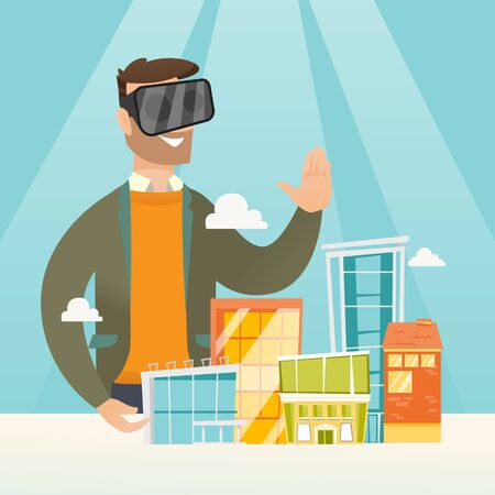 Young caucasian man wearing virtual reality headset and getting into vr world. Man developing project of the city architecture using virtual reality glasses. Vector cartoon illustration. Square layout