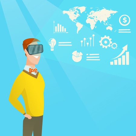 Young caucasian businessman wearing virtual reality headset and looking at digital display with business graphs. Businessman analyzing virtual data. Vector cartoon illustration. Square layout.