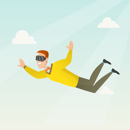 Young caucasian businessman wearing virtual reality headset and flying in the sky. Man in virtual reality device having fun while flying in virtual reality. Vector cartoon illustration. Square layout. Illusztráció