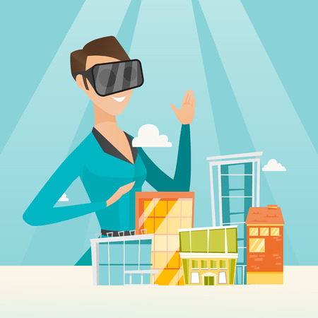 Young caucasian woman wearing virtual reality headset and getting into vr world. Woman developing project of city architecture using virtual reality glasses. Vector cartoon illustration. Square layout Illusztráció