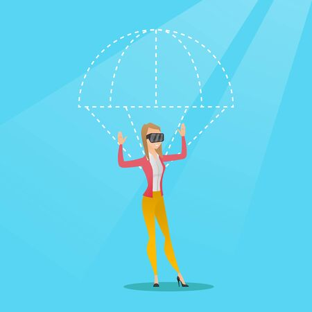 Caucasian woman wearing virtual reality glasses and flying with a parachute. Young excited woman in vr headset having fun while flying in virtual reality. Vector cartoon illustration. Square layout.