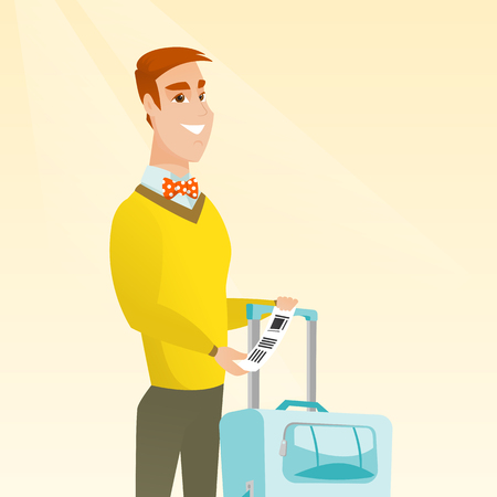 Happy business class passenger standing near suitcase and holding priority luggage tag. Young smiling caucasian businessman showing travel insurance tag. Vector cartoon illustration. Square layout.