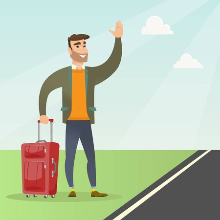 Caucasian man with suitcase hitchhiking on the roadside. Hitchhiking man trying to stop a car on a highway. Man catching a taxi car by waving his hand. Vector cartoon illustration. Square layout.