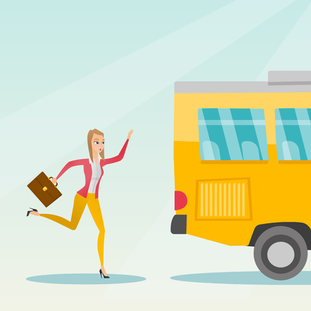 Young business woman chasing a bus. Caucasian business woman running for an outgoing bus. Latecomer business woman running to reach a bus. Vector cartoon illustration. Square layout.