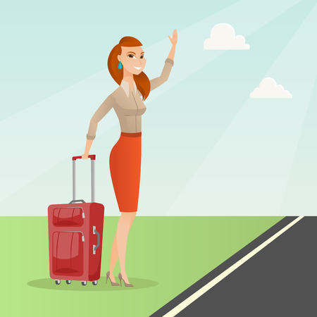 Caucasian woman with suitcase hitchhiking on the roadside. Hitchhiking woman trying to stop a car on a highway. Woman catching a taxi car by waving hand. Vector cartoon illustration. Square layout.