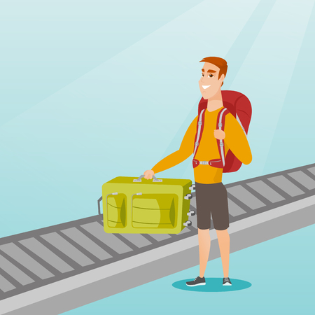 belt up: Happy caucasian passenger picking up suitcase from luggage conveyor belt at the airport. Young cheerful passenger taking his luggage from conveyor belt. Vector cartoon illustration. Square layout.