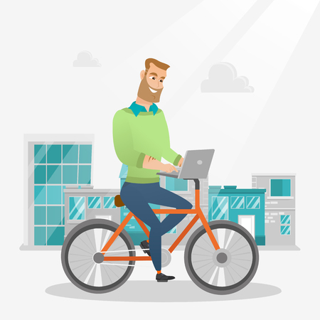 Young caucasian businessman working on a laptop while riding a bicycle. Hipster man riding a bicycle to work. Businessman riding a bicycle in the city. Vector cartoon illustration. Square layout. Stock Illustratie