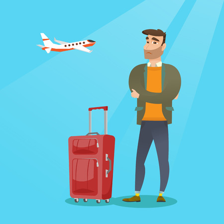 Young caucasian airplane passenger frightened by future flight. Man suffering from fear of flying. Terrified passenger with suitcase waiting for a flight. Vector cartoon illustration. Square layout.