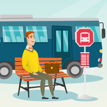 Caucasian businessman with briefcase waiting for a bus at the bus stop. Young businessman sitting at the bus stop. Happy man sitting on a bus stop bench. Vector cartoon illustration. Square layout.