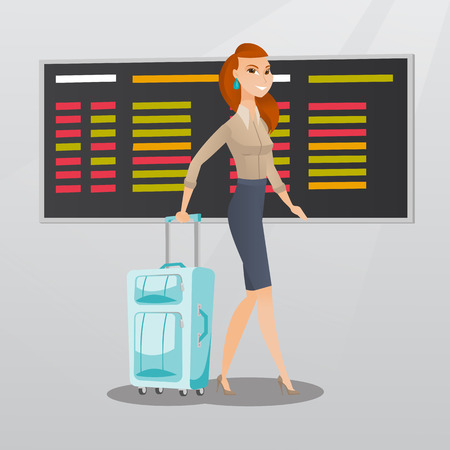 departure board: Young caucasian passenger with suitcase walking on the background of schedule board at the airport. Cheerful business woman pulling suitcase at the airport. Vector cartoon illustration. Square layout.