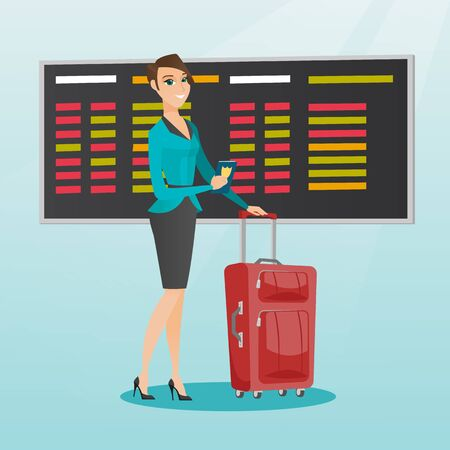 Young caucasian airplane passenger waiting for a flight at the airport and holding passport. Happy woman standing at the airport with suitcase and passport. Vector cartoon illustration. Square layout.