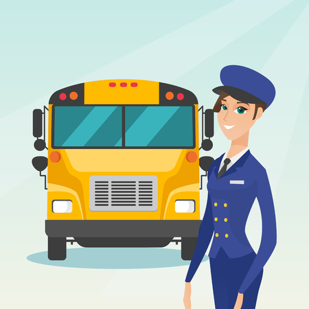Caucasian cheerful female school bus driver standing on the background of yellow bus. Smiling school bus driver in uniform. Cheerful school bus driver. Vector cartoon illustration. Square layout.