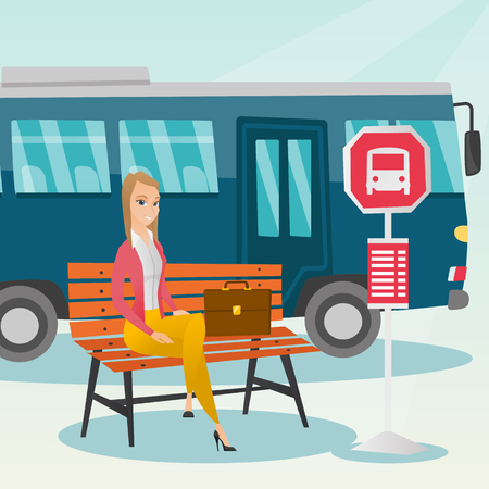 Caucasian businesswoman with briefcase waiting for a bus at the bus stop. Young woman sitting at the bus stop. Happy woman sitting on a bus stop bench. Vector cartoon illustration. Square layout.
