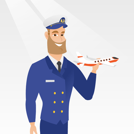 Young caucasian airline pilot holding the model of airplane in hand. Cheerful hipster airline pilot in uniform. Smiling pilot with the model of airplane. Vector cartoon illustration. Square layout. Illustration