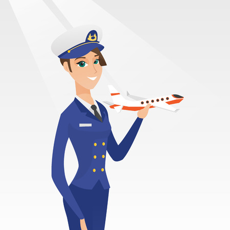 Jonge Kaukasische luchtvaartlijn proef die het model van vliegtuig in hand houdt. Vrolijke vrouwelijke vliegerpiloot in uniform. Lachende piloot met het modelvliegtuig. Vector cartoon illustratie. Vierkante lay-out.