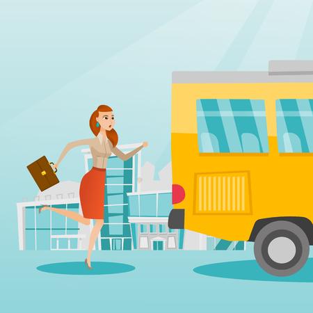 Jonge bedrijfsvrouw die een bus achtervolgt. Kaukasische bedrijfsvrouw die voor een uitgaande bus loopt. Latecomer bedrijfsvrouw die een bus bereiken te bereiken. Vector cartoon illustratie. Vierkante lay-out.