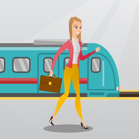 Young caucasian business woman walking on railway station platform on the background of train. Happy business woman with briefcase going out of the train. Vector cartoon illustration. Square layout.