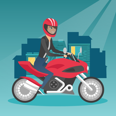 Young happy caucasian woman in helmet riding a motorcycle on the background of night city. Motorcyclist driving a motorcycle on the city road at night. Vector cartoon illustration. Square layout.