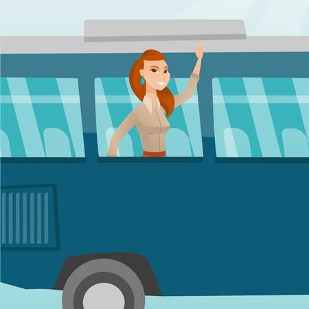 Young caucasian woman enjoying her trip by bus. Happy passenger waving hand from bus window. Cheerful tourist peeking out of bus window and waving hand. Vector cartoon illustration. Square layout.