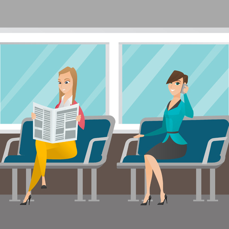 woman cellphone: Caucasian women traveling by public transport. Woman using mobile phone while traveling by public transport. Woman reading newspaper in public transport. Vector cartoon illustration. Square layout.