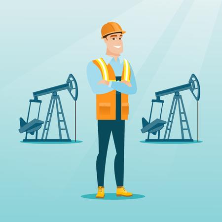 백인 석유 노동자 제복 및 헬멧입니다. 자신감이 석유 작업자 넘어 팔을 서. 오일 작업자 펌프 잭의 배경에 서 서 웃 고. 벡터 평면 디자인 일러스트 레