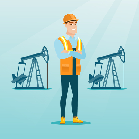 Caucasian oil worker in uniform and helmet. Confident oil worker standing with crossed arms. Smiling oil worker standing on the background of pump jack. Vector flat design illustration. Square layout. Zdjęcie Seryjne - 83918510