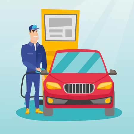 Caucasian gas station worker filling up fuel into the car. Smiling worker in workwear at the gas station. Young gas station worker refueling a car. Vector flat design illustration. Square layout. Illustration