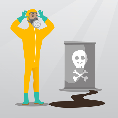 dangerous man: Concerned man in respirator and radiation protective suit clutching his head. Young man in radiation suit looking at leaking barrel with radiation sign. Vector flat design illustration. Square layout.